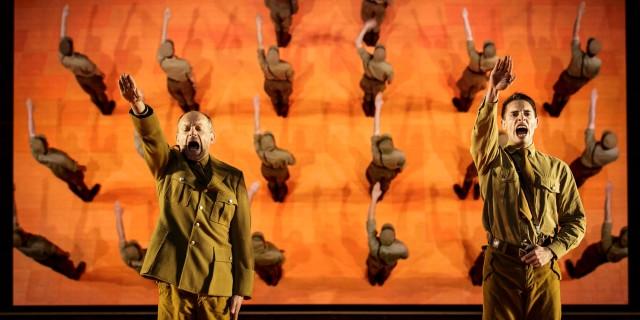 LES DAMNES - D' aprés Luchino VISCONTI, Nicola BADALUCCO et Enrico MEDIOLI - Mise en scène: Ivo VAN HOVE - Scénographie et lumière : Jan VERSWEYSELD -Costumes: An d'HUYS - Vidéo: Tal YARDE- Musique et concept sonore: Eric SLEICHIM -Dramaturgie: Bart VAN DEN EYNDE - Avecla Troupe de la Comédie-Française: Sylvia BERGE - Éric GENOVESE - Denis PODALYDES - Alexandre PAVLOFF - Guillaume GALLIENNE - Elsa LEPOIVRE - Loïc CORBERY - Adeline D HERMY - Clément HERVIEU LEGER - Jennifer DECKER - Didier SANDRE - Christophe MONTENEZ - Et Basile ALAIMALAIS - Sébastien BAULAIN - Thomas GENDRONNEAU - Ghislain GRELLIER - Oscar LESAGE - tephen TORDO - Tom WOZNICZKA - Avec Bl!ndman [Sax] : Koen Maas, Roeland Vanhoorne, Piet Rebel, Raf Minten - Dans le cadre du 70ème Festival d'Avignon - Lieu : Cour d'Honneur du Palais des Papes - Ville : Avignon - Le 30 06 2016 - Photo : Christophe RAYNAUD DE LAGE